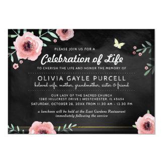 Feier des Lebens laden Rosa u. schwarzes Blumen Karte