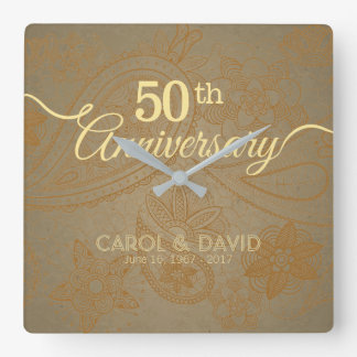 Feiern des 50. Jahrestages. Goldene Spitze Quadratische Wanduhr
