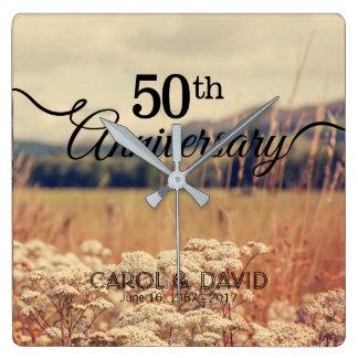 Feiern des 50. Jahrestages Quadratische Wanduhr