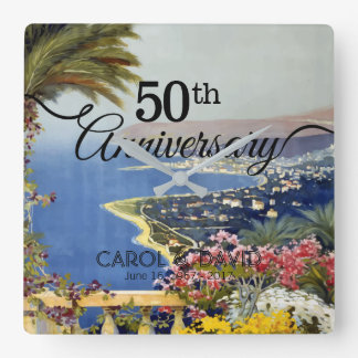 Feiern des 50. Jahrestages. Vintages San Remo. Quadratische Wanduhr