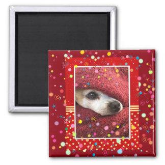Feiertags-Chihuahua Quadratischer Magnet