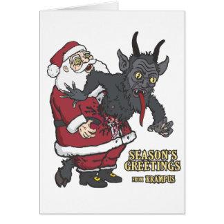 Feiertags-Grüße von Krampus (und von Sankt) Grußkarte