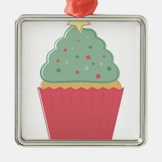 Feiertags-kleiner Kuchen Silbernes Ornament