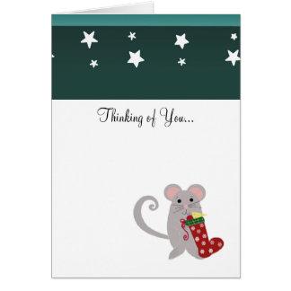 Feiertags-Maus mit rotem Strumpf Karte