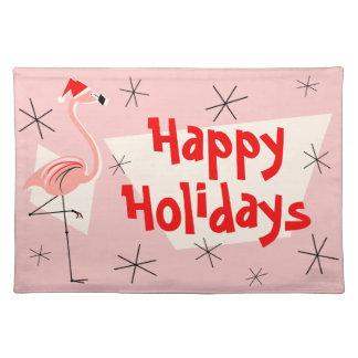 Feiertags-Stoff-Tischset Flamingo-Sankt rosa Stofftischset
