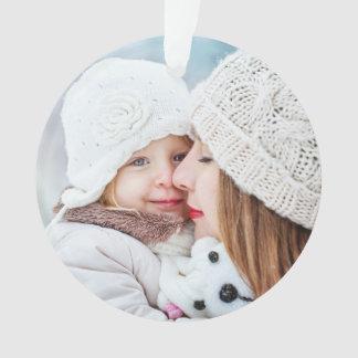Feiertags-Winter spritzt Familien-Foto Ornament