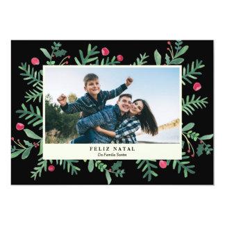 Feliz Geburts- Aquarela   Cartão de Natal 12,7 X 17,8 Cm Einladungskarte