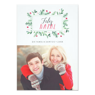 Feliz Geburts- Folhagem Pintada | Cartão de Natal 12,7 X 17,8 Cm Einladungskarte