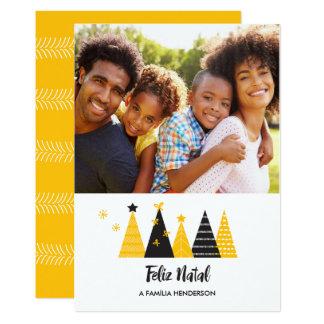 Feliz Geburts- Gold u. schwarze Baum-Karte 12,7 X 17,8 Cm Einladungskarte
