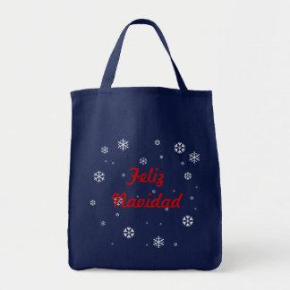 Feliz Navidad Schneeflocken Tragetasche