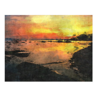 Felsiger Ufer-Sonnenuntergang Postkarte