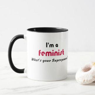Feministischer Supermachtslogan Tasse