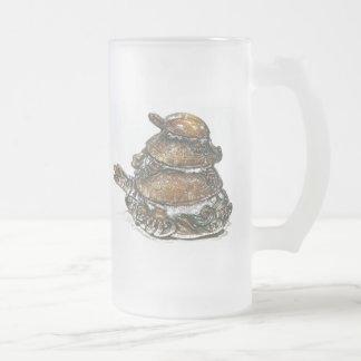 Feng Shui dreifache Schildkröte - Gold Mattglas Bierglas