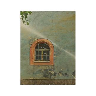 Fenster unter dem Baum-Plakat-Druck Holzposter