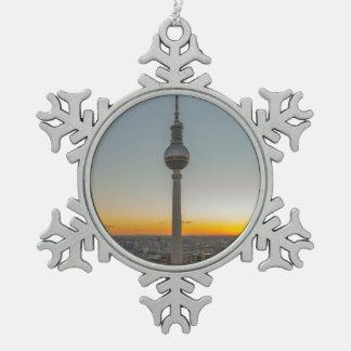 Fernsehturm Berlin, Berlin Fernsehturm, Schneeflocken Zinn-Ornament