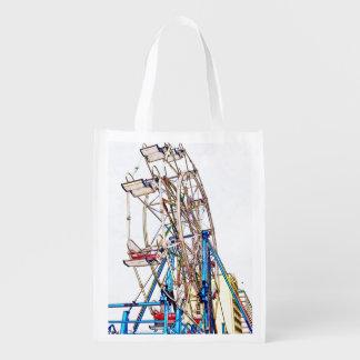 Ferris Rad-Kreide Kontur durch Shirley Taylor Wiederverwendbare Einkaufstasche