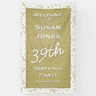 Fertigen Sie Geburtstags-Alter - Weiß/Gold über - Banner