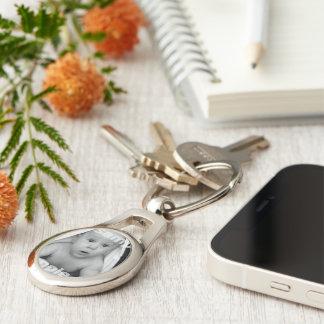 Fertigen Sie Ihr eigenes einzigartiges Silberfarbener Oval Schlüsselanhänger