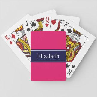 Feste Himbeere, Marine-blaues Band-Namen-Monogramm Spielkarten
