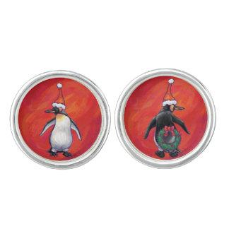 Festliche Penguin-Köpfe und Schwänze Manschetten Knöpfe