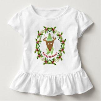 Festlicher Ren-Aquarell-Kranz-Feiertag Kleinkind T-shirt