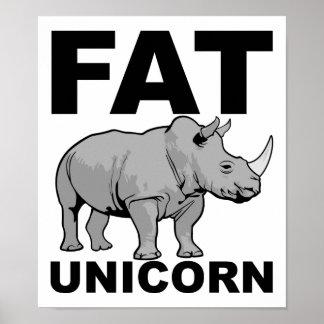 Fettes Einhorn-Nashorn-lustiges Plakat