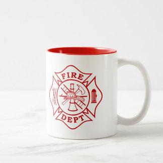 Feuer-Abteilung/Feuerwehrmann-Malteserkreuz-Tasse Zweifarbige Tasse