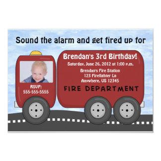 Feuer-LKW-Kindergeburtstag-Einladung 12,7 X 17,8 Cm Einladungskarte