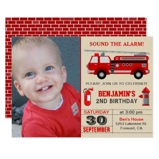Feuer-LKW scherzt Foto-Geburtstags-Party Einladung