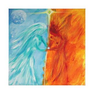 Feuer und Wasser, göttliches männliches und Leinwanddruck