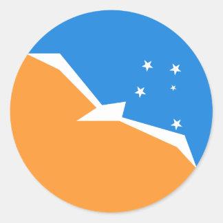 Feuerland-Flagge. Patagonia, Argentinien Runder Aufkleber