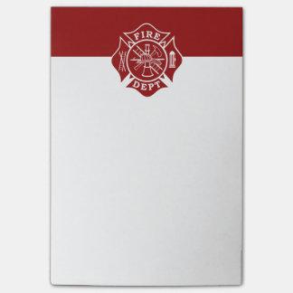 Feuern Sie Abteilung/Feuerwehrmann Post-it Klebezettel