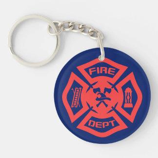 Feuerwehr Beidseitiger Runder Acryl Schlüsselanhänger