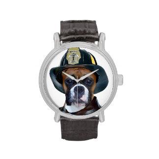 Feuerwehrmann-Boxer-Hund Armbanduhr