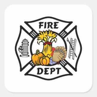 Feuerwehrmann-Erntedank-Logos Quadratischer Aufkleber