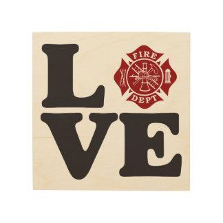 Feuerwehrmann LIEBE Malteserkreuz-hölzerne Grafik Holzleinwand