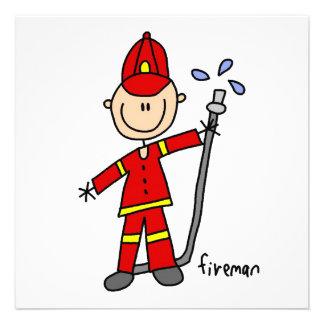 Feuerwehrmann-Strichmännchen Personalisierte Ankündigungen
