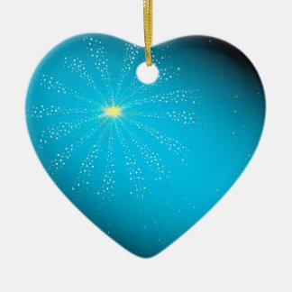 Feuerwerk auf Blau Keramik Herz-Ornament