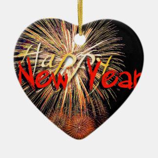 Feuerwerke in rotem guten Rutsch ins Neue Jahr Keramik Herz-Ornament