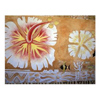 Fidschi, Wandgemälde Art. Postkarte