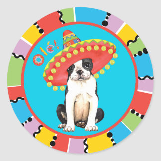 Fiesta Boston Terrier Runder Aufkleber