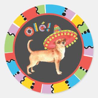 Fiesta-Chihuahua Runder Aufkleber