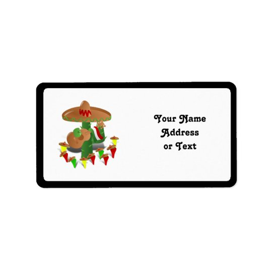 Fiesta-Kaktus mit Gitarren-u. Adressaufkleber