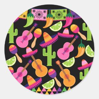 Fiesta-Partysombrero-Kaktus kalkt Paprikaschoten Runder Aufkleber