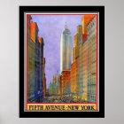 Fifth- Avenuenew- yorkkunst-Deko-Vintages Plakat