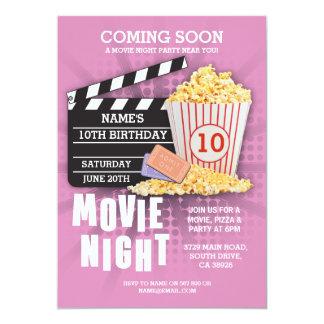 Film-Nachtfilm-Kino-Geburtstags-Party-Rosa laden Karte