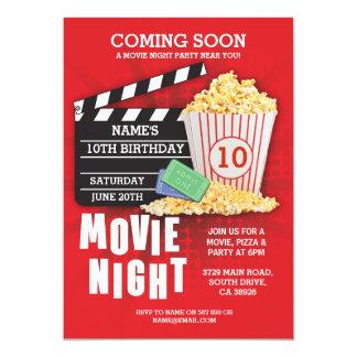 Film-Nachtfilm-Kino-Geburtstags-Party-Rot laden Karte
