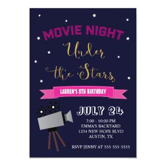 Film-Nachtgeburtstags-Einladung - unter den Karte