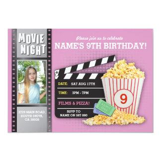 Film-Nachtrosa-Kino-Geburtstags-Party-Foto Karte