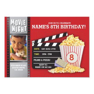 Film-Nachtrotes Kino-Geburtstags-Party-Foto Karte